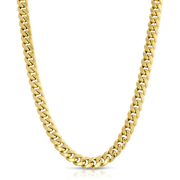 8.0MM MIAMI CUBAN LINK - HOLLOW 10K GOLD CHAIN - BOX CLASP LOCK
