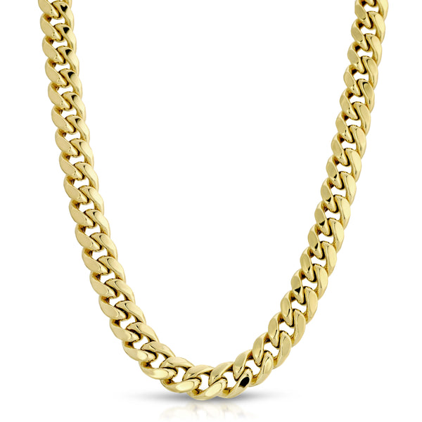 9.0MM MIAMI CUBAN LINK - HOLLOW 10K GOLD CHAIN - BOX CLASP LOCK