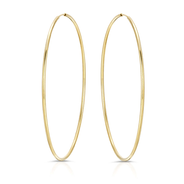 14K GOLD 1MM HOOP EARRINGS