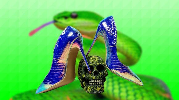 Quetzal - Drag Queen Snake Print Stiletto Shoes in different colours-Queenofdrag.com
