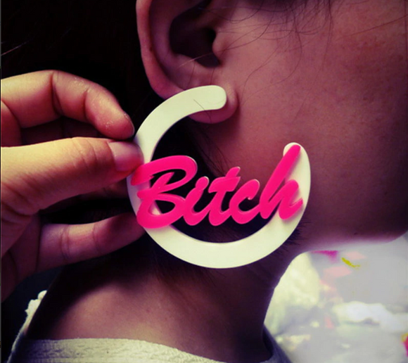 Bitch - Large Bitch Drag Queen Earrings-Queenofdrag.com