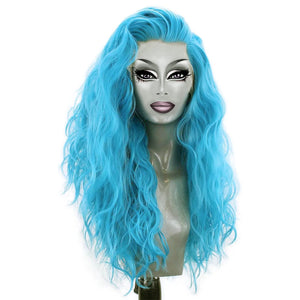 "18""-26"" Blue Wavy Drag Queen Synthetic Lace Front Wig-Queenofdrag.com"