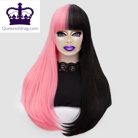 Black and pink Drag Queen wig Queenofdrag