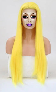 "18""-26"" Drag Queen Straight Yellow Lace Front Wig-Queenofdrag.com"