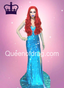 Princess blue - Custom Made Drag Queen Sequin Gown-Queenofdrag.com