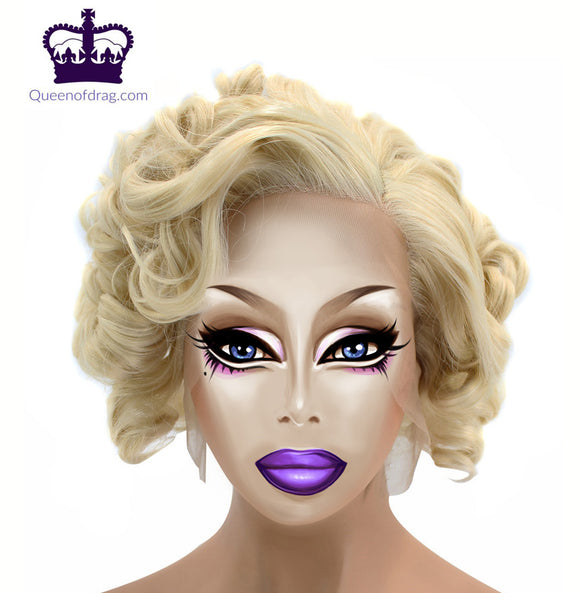 Drag Queen Side Part Short Curly Blonde Synthetic Lace Front Wig-Queenofdrag.com