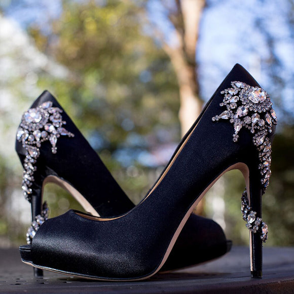 Brooke - Drag Queen Rhinestone Peep Toe Pumps - Plus Size-Queenofdrag.com
