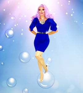 Competition Gurl - Solid Blue Elegant Pencil Dress-Queenofdrag.com