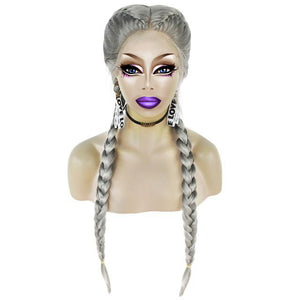 Braided Synthetic Drag Queen Lace Front Wig in different colors-Queenofdrag.com