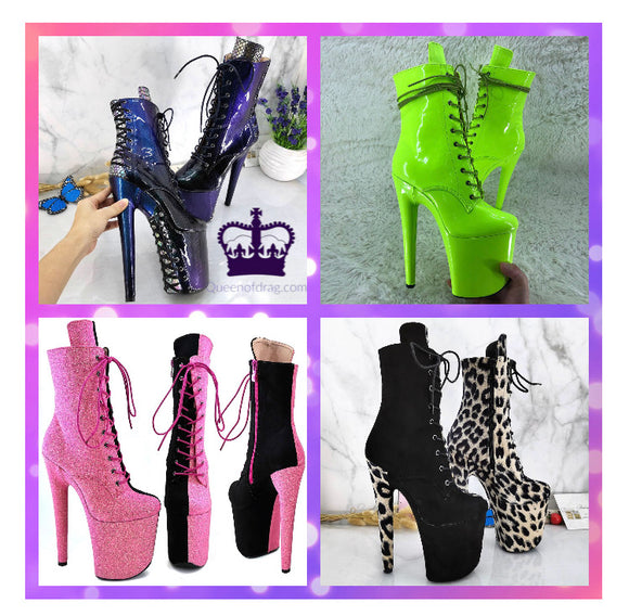 Wild - Drag Queen Custom Made Platform Boots pick your color - Plus Size-Queenofdrag.com