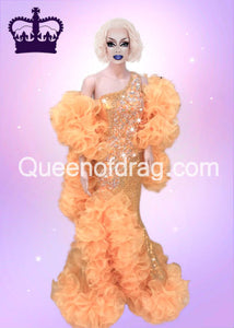 Queen Yellow - Custom Made Drag Queen Sequin Gown-Queenofdrag.com