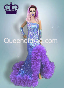 Queen Purple - Custom Made Drag Queen Sequin Gown-Queenofdrag.com
