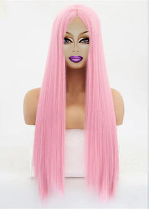 "18""-26"" Drag Queen Straight Pink Lace Front Wig-Queenofdrag.com"