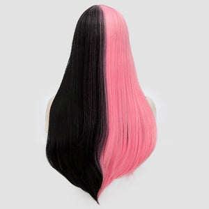 "28"" Straight Black and Pink Drag Queen Wig-Queenofdrag.com"