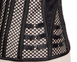 Vita - Beige Satin and Fishnet Overbust Drag Queen Corset-Queenofdrag.com