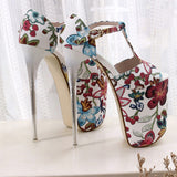 Flora - Drag Queen Luxurious Platform Shoes With Floral Print in 4 colours - plus size-Queenofdrag.com