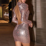 Jenniffer - Elegant Puff Sleeve Drag Queen Sequin Dress-Queenofdrag.com