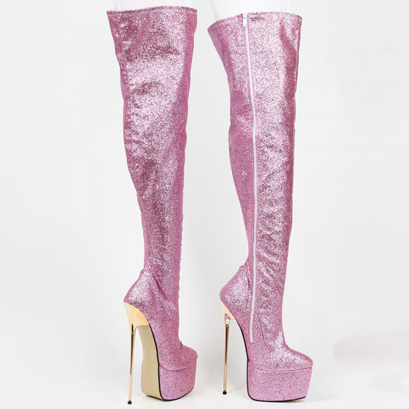 Pinkie - Drag Queen 22 cm High Stiletto Glitter Platform Boots - Plus Size-Queenofdrag.com