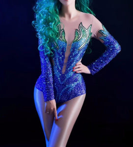 Fish - Drag Queen Stage Sparkly Rhinestones Bodysuit-Queenofdrag.com