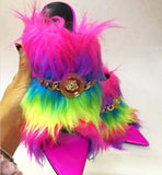 Rainbow - Drag Queen Fur Mules-Queenofdrag.com
