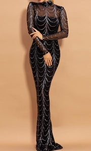 Bella - Drag Queen High Neck Sequin Dress-Queenofdrag.com