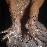 Luxe - Drag Queen Stretch Rhinestone Gloves-Queenofdrag.com