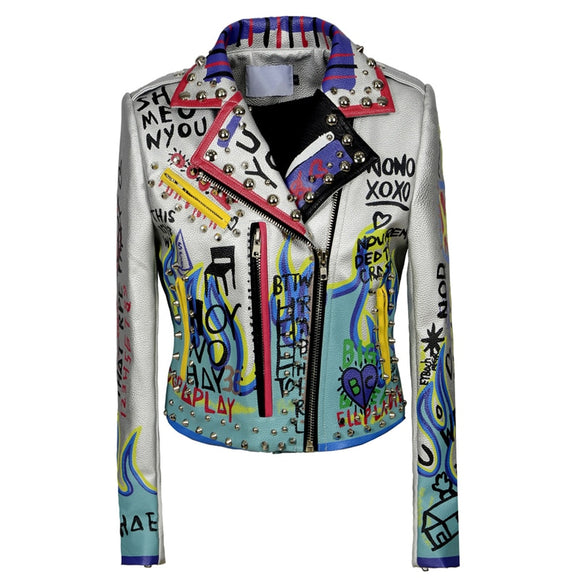 Graffiti 3 - Faux Leather Drag Queen Jacket-Queenofdrag.com