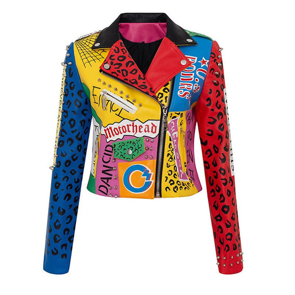 Graffiti - Faux Leather Drag Queen Jacket-Queenofdrag.com