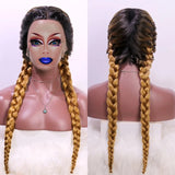 Ombre Braided Synthetic Drag Queen Lace Front Wig in different colours-Queenofdrag.com