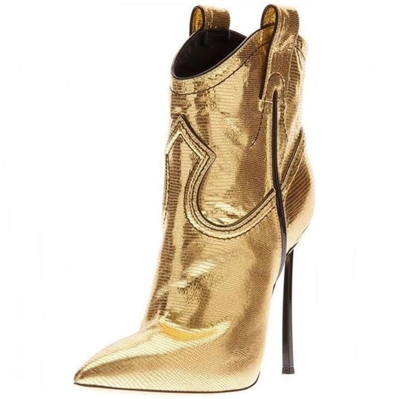 Blade - Drag Queen Gold Or Silver Lizard Pattern Ankle Boots-Queenofdrag.com