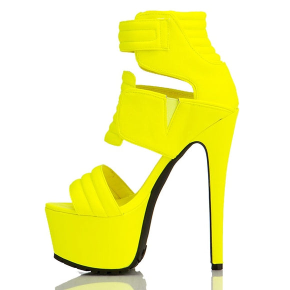 Warrior - Original Fashion Drag Queen Platform Sandals Black Yellow-Queenofdrag.com