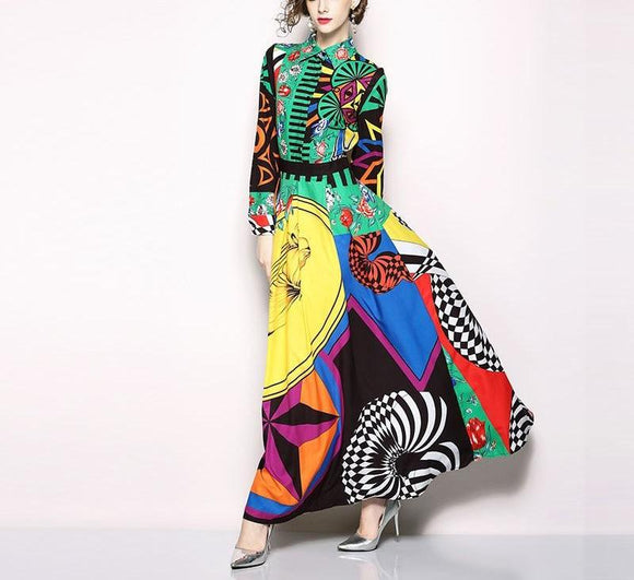 Frida K - Fashion Vintage Print Elegant Dress-Queenofdrag.com