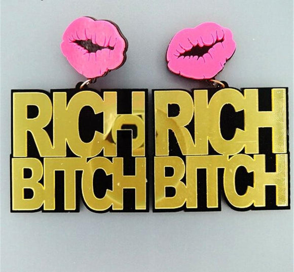 Rich Bitch - Drag Queen Earrings-Queenofdrag.com