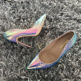 Quetzal - Drag Queen Snake Print Stiletto Shoes in great variety of colours-Queenofdrag.com