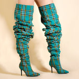 Tartan - Drag Queen Plaid Boots-Queenofdrag.com