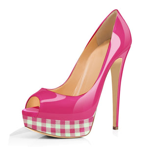 Vichy - Drag Queen Peep Toe Stiletto Platforms - Plus Size-Queenofdrag.com