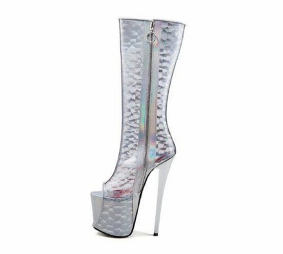 Fin - Drag Queen Knee-high 19cm Platform Boots - Plus size-Queenofdrag.com