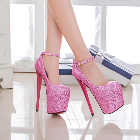 Bridget - Size 4 to 21 Drag Queen Platform Glitter Pumps, Blue Pink or Red - Plus size-Queenofdrag.com