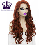 "26"" Dark Red Lace Front Drag Queen Wig"