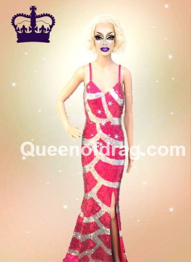 Princess Pink & Silver - Custom Made Drag Queen Sequin Gown-Queenofdrag.com