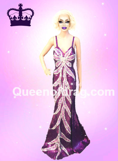 Princess Violette - Custom Made Drag Queen Sequin Gown-Queenofdrag.com
