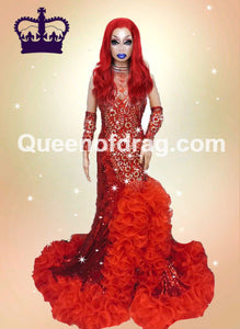 Queen Red - Custom Made Drag Queen Sequin Gown-Queenofdrag.com