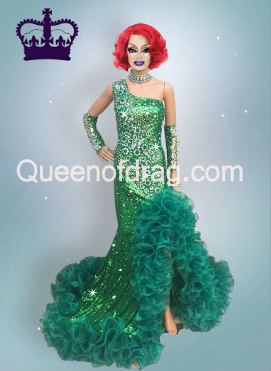 Queen Green - Custom Made Drag Queen Sequin Gown-Queenofdrag.com