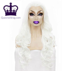 "26"" White Drag Queen Lace Front Wig-Queenofdrag.com"