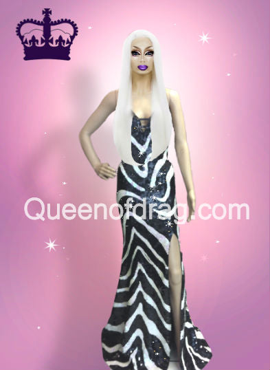 Princess Striped - Custom Made Drag Queen Sequin Gown-Queenofdrag.com