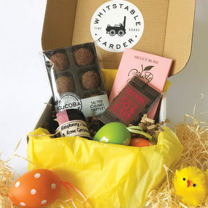 Unique food gift boxes curated by Whitstable Larder, offering the very best coffees, teas, chocolate, jam and sauces from small producers of Kent and Sussex.