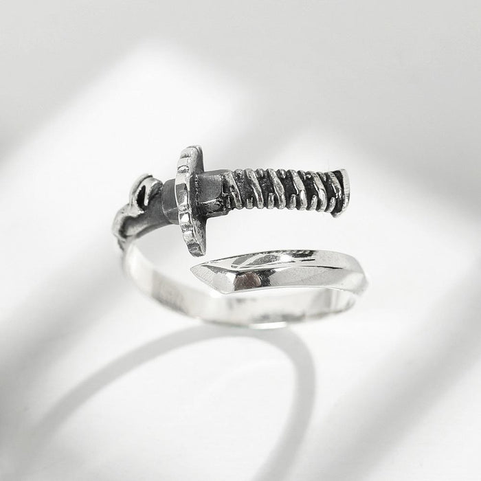 Katana Open Ring 100% 925 Sterling Silver Vintage Style High Quality Jewelry
