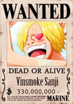 Straw Hat Wanted Poster Sticker - sanji wanted poster