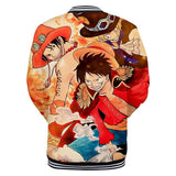 One Piece Button Long Sleeve shirt Sabo, Ace & Luffy