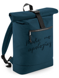 Petrol Blue Roll top Backpack